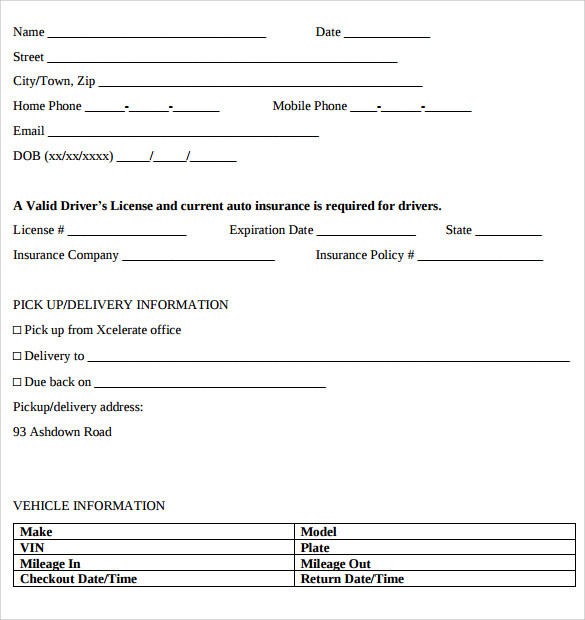 Car Rental Form Template  NinjaTurtletechrepairsCo