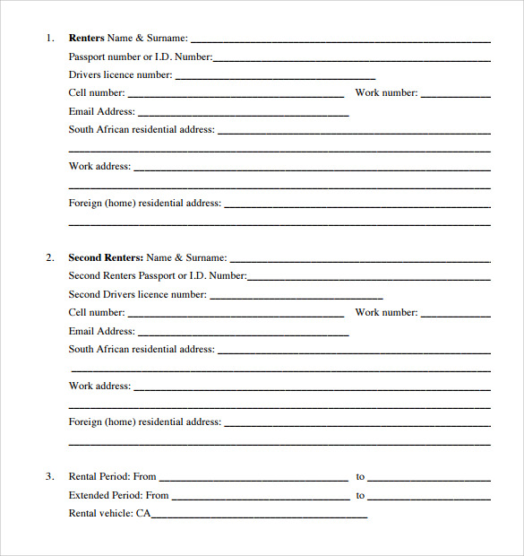 Car Rental Agreement Templates - 6+ Free Documents In Pdf, Word