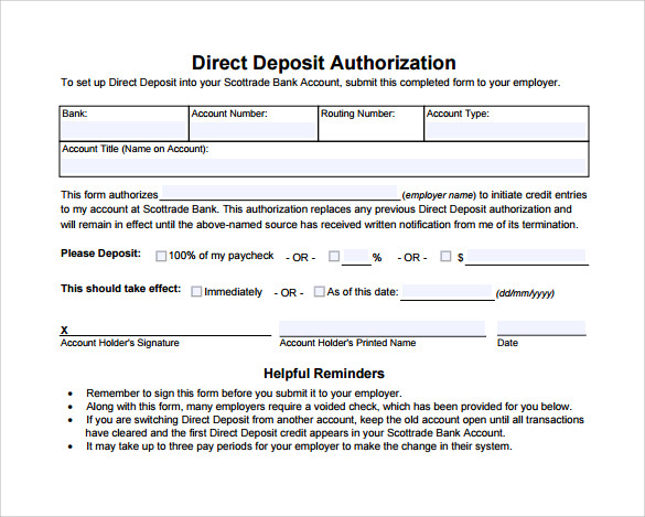 Sample Direct Deposit Authorization Form - 7+ Download Free ...