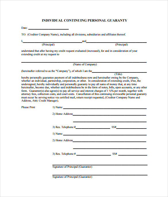 Wonderful Individual Continuing Personal Guarantee Form