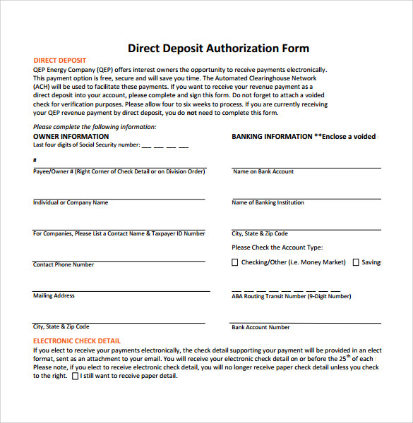 Direct Deposit Authorization Form  BesikEightyCo