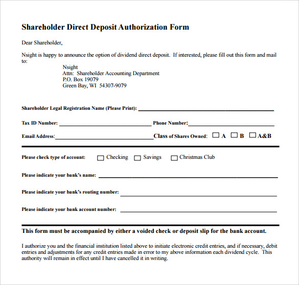 Sample Direct Deposit Authorization Form   Download Free