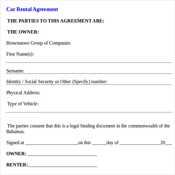 sample car rental contract
