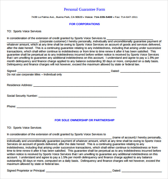 Good Sample Personal Guarantee Form 9 Download Free Documents In Pdf