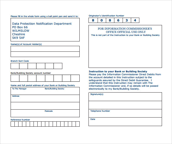 Direct Debit Form   Download Free Documents In Pdf Word