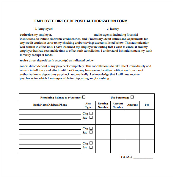 8 direct deposit authorization forms download for free for Direct deposit forms for employees template