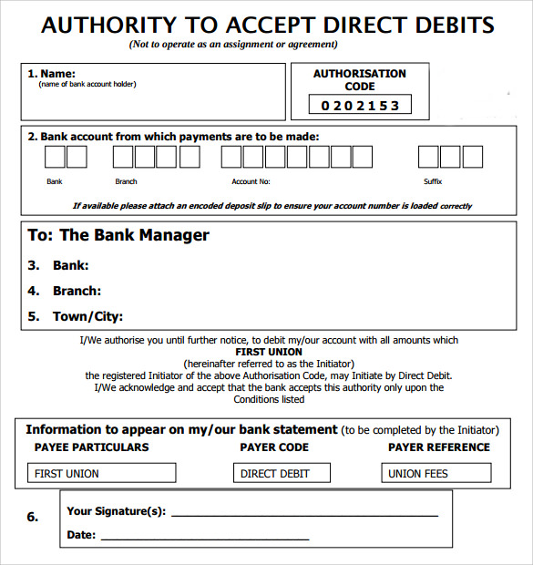Direct Debit Form Direct Debit Form Paperless Billing Direct Debit