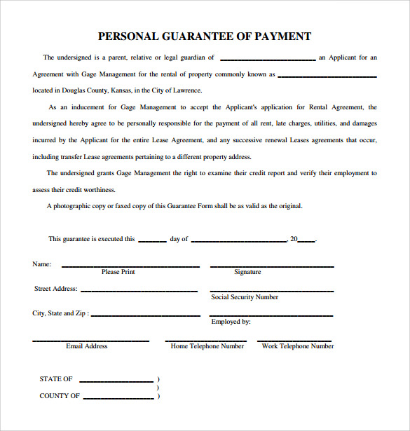 Sample Personal Guarantee Form   Download Free Documents In Pdf