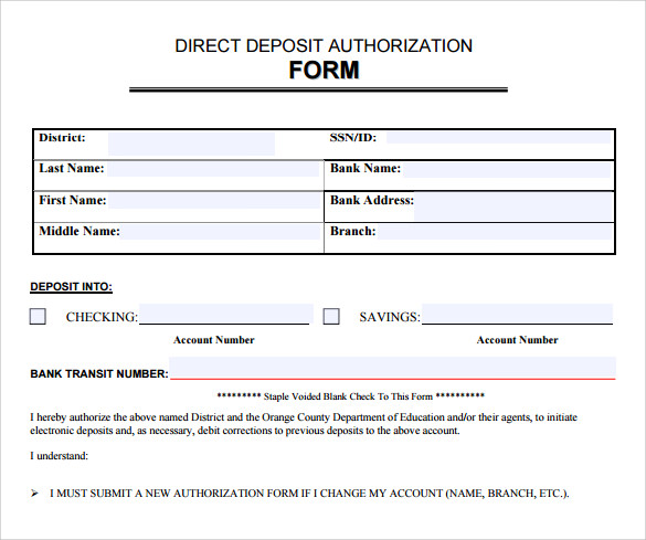 Sample Direct Deposit Authorization Form - 7+ Download Free