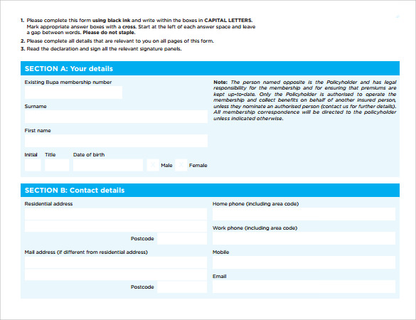 direct debit application form example