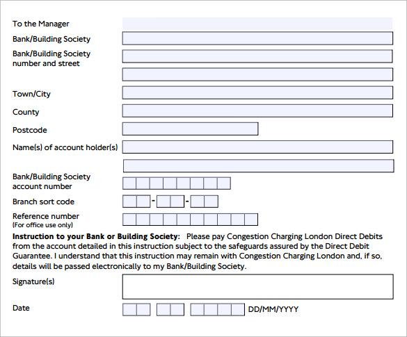 simple direct debit form
