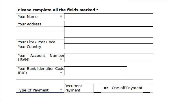 word download direct debit form