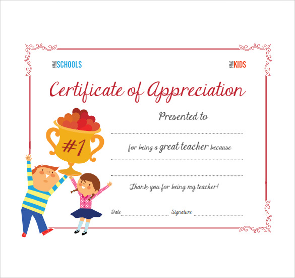 Sample thank you certificate template 10 documents download in certificate of appreciation template yelopaper Choice Image