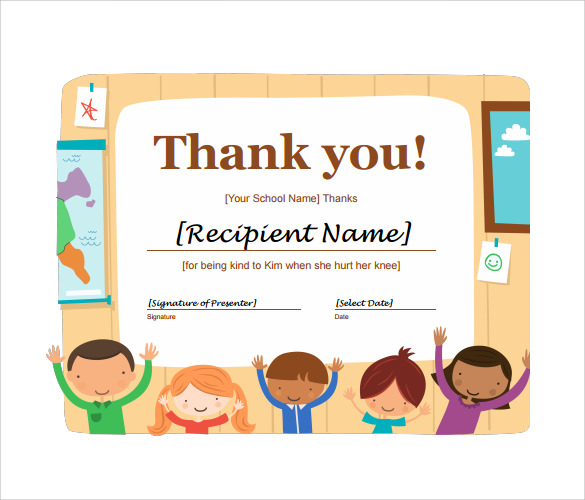 certificate of thanks template