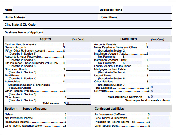 Sample Personal Financial Statement Form   Download Free