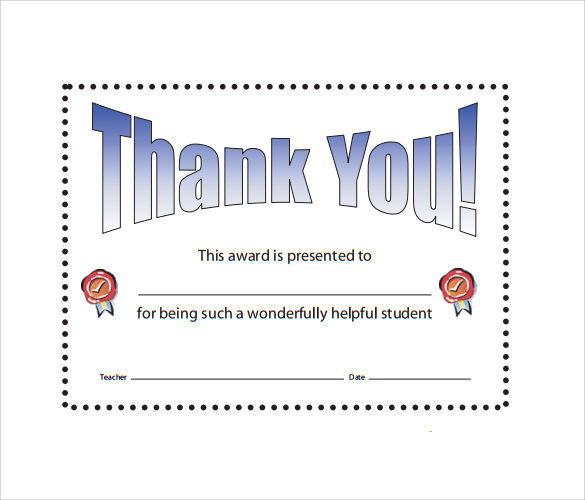 Sample Thank You Certificate Template Documents Download In