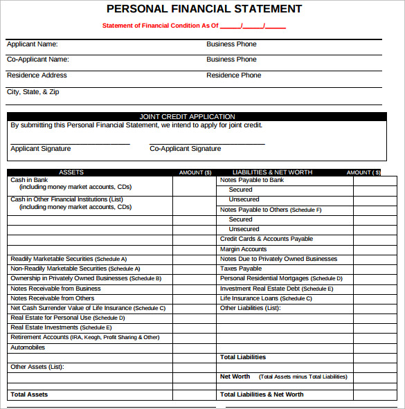 Sample Personal Financial Statement Form - 7+ Download Free