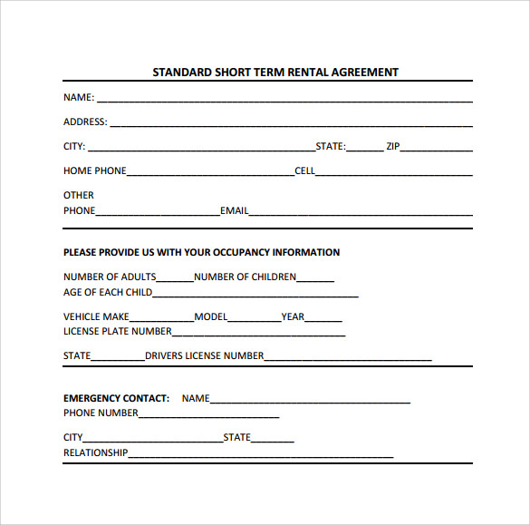 9 short term rental agreement sample templates for Standard tenancy agreement template