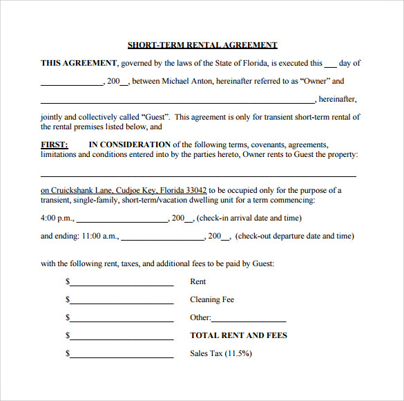 Sample Short Term Rental Agreement 8 Free Documents In