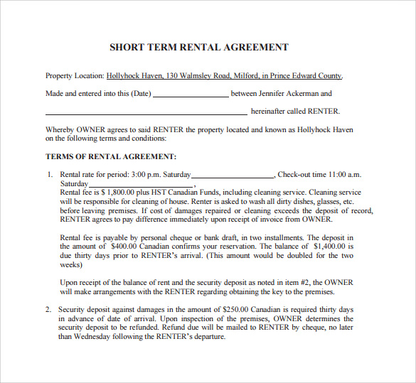 Sample Short Term Rental Agreement   Free Documents In Pdf Word