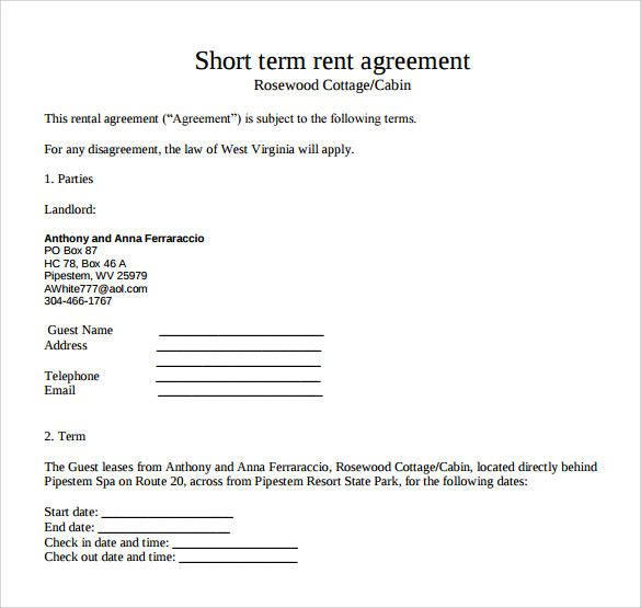 Short Term Rental Contract Form Free Download Blank Contract