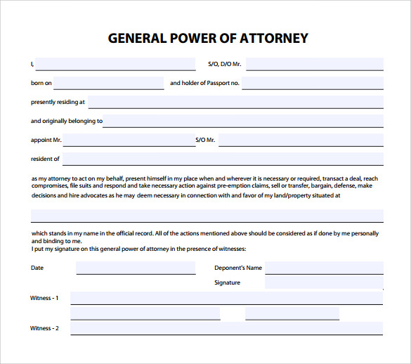 Sample General Power of Attorney Form 6 Download Free Documents – General Power of Attorney Form