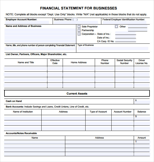 Sample Business Financial Statement Form - 6+ Download Free