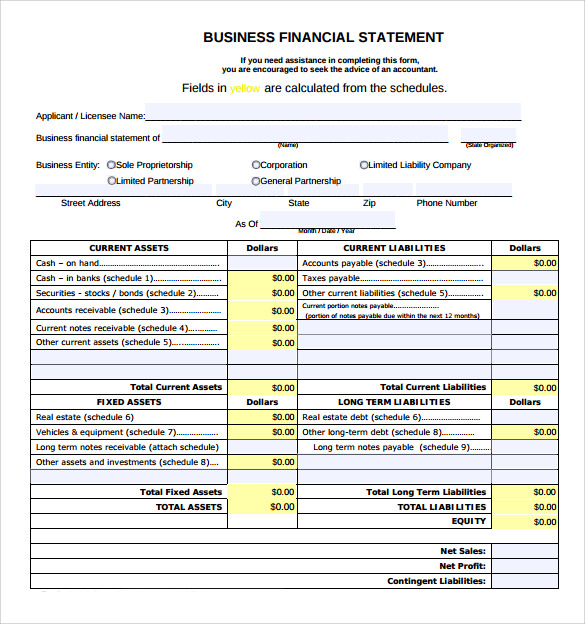 business financial statement form to download