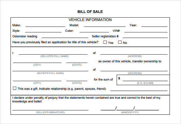 Auto Bill Of Sale Template >> Auto Bill of Sale Template - 7+ Download Free Documents In PDF