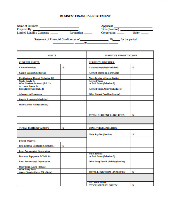 Sample Business Financial Statement Form 6 Download Free – Sample Personal Financial Statement
