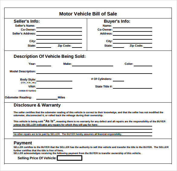 Sample Auto Bill Sale Template