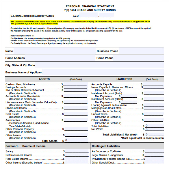 sample pdf business financial statement form