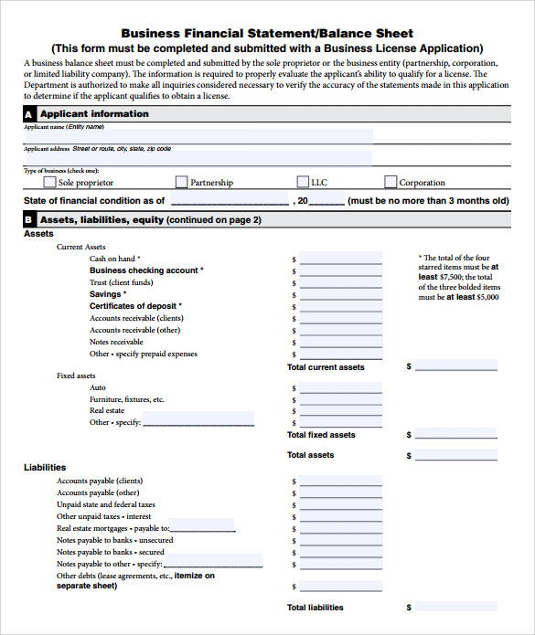 simple financial statement form
