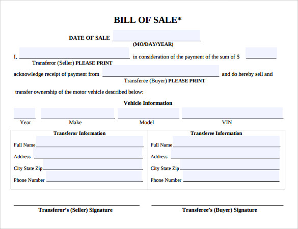8 Auto Bill Of Sale Templates To Download Sample Templates