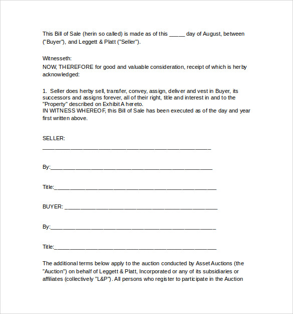 bill of sale for used equipment