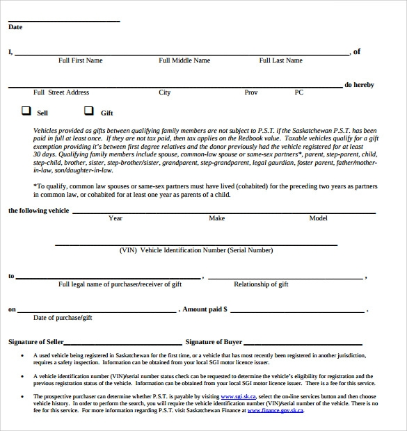 used car sales form