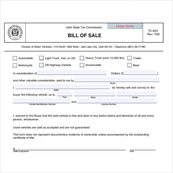 Used Car Bill Of Sale Template - Template
