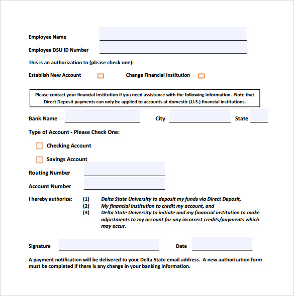 Sample Direct Deposit Form - 8+ Download Free Documents In Pdf, Word