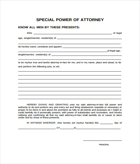 Sample Special Power Of Attorney Form   Download Free Documents