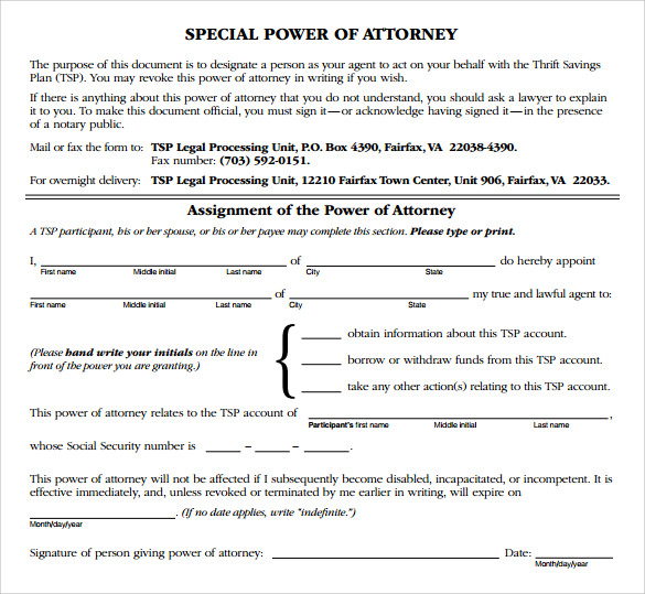 sample special power of attorney form - Sample Special Power Of Attorney Form