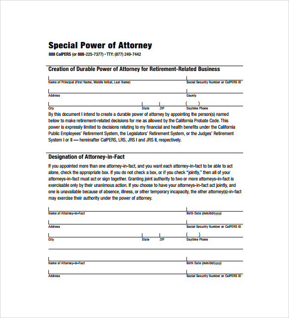 Sample Special Power Of Attorney Form 8 Download Free