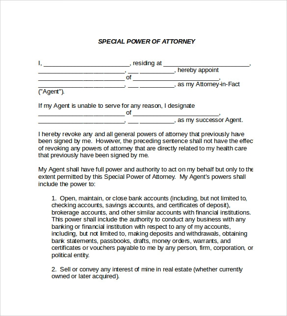 sample special power of attorney form download free documents - Sample Special Power Of Attorney Form