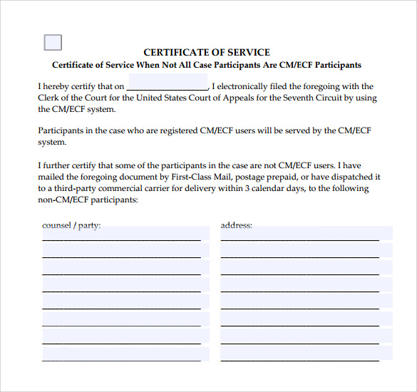 Certificate Of Service Template   Download Free Documents In