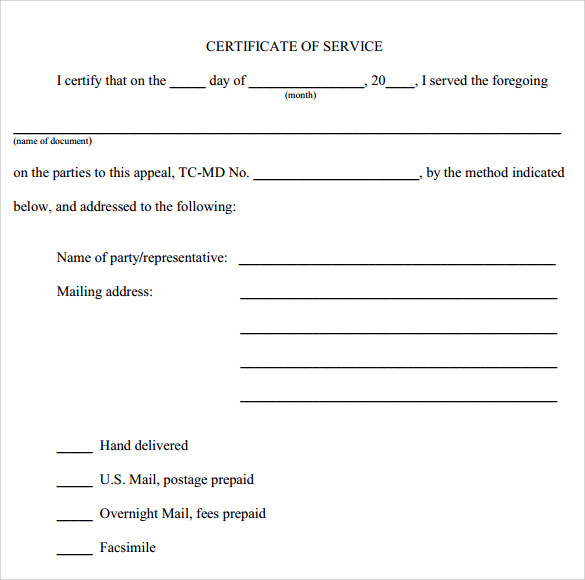 Certificate Of Service Template - 8+ Download Free Documents In