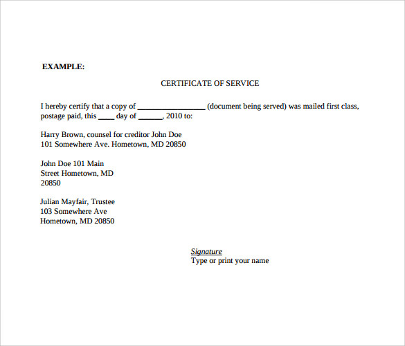 certificate of service template 10 certificate of service templates to download for free