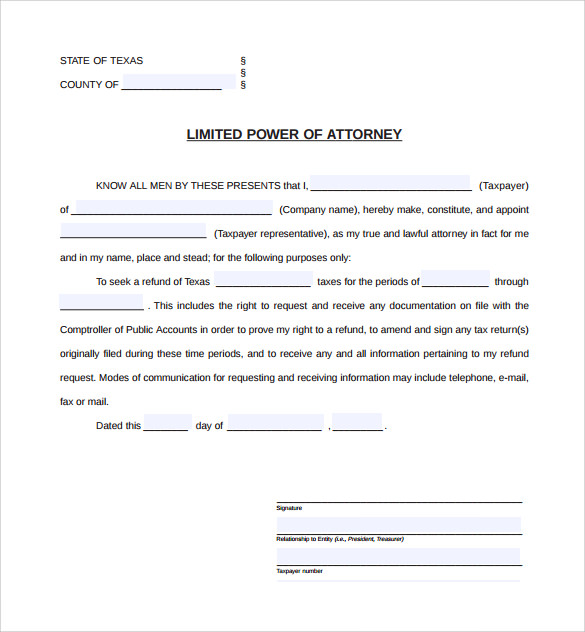 Sample Limited Power Of Attorney Forms   Free Documents In Pdf