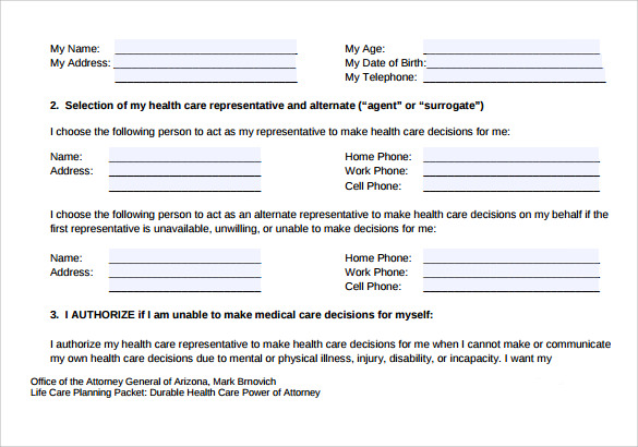 health care power of attorney form example