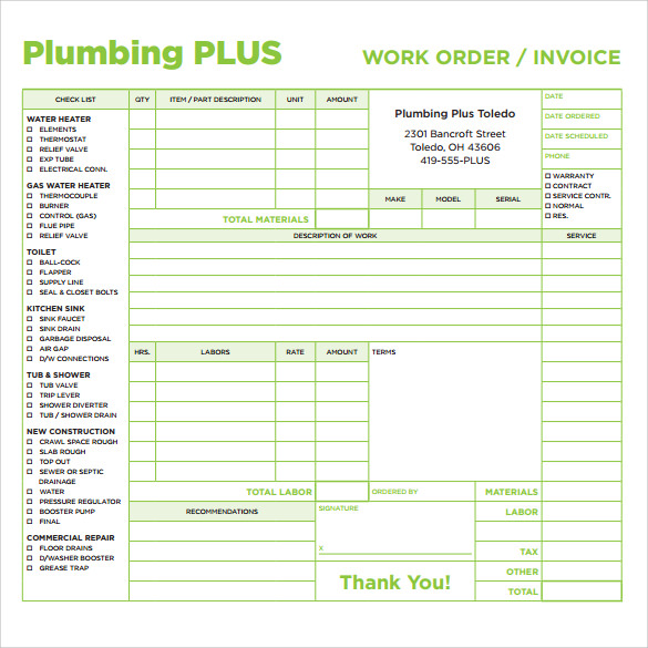 plumbing invoice template