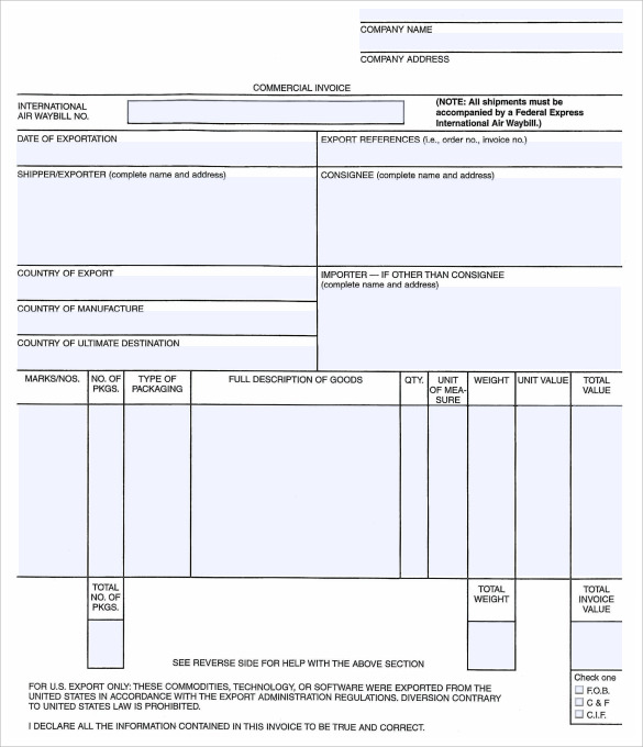Professional Invoice Template - Commercial invoice template fedex for service business