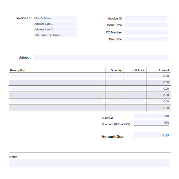 Sample Professional Invoice Templates  Download Free Documents